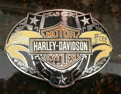 HARLEY DAVIDSON BAR & SHIELD RIDE FREE BELT BUCKLE