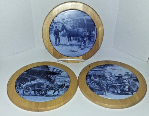 3 Vintage TER STEEGE Hand Decorated Round Wall PLAQUES/TILES Made In HOLLAND