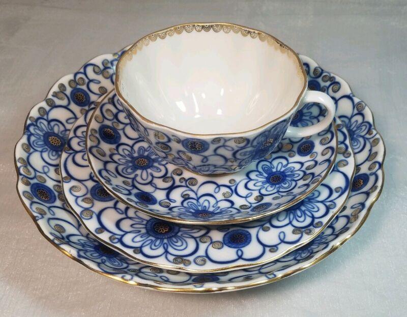 Lomonosov Porcelain Cup/Saucer/Dessert Plate/Cake Dish, Bindweed Winding Twig