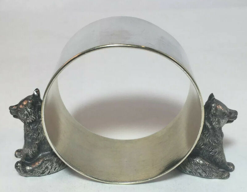 Antique WMF Silverplate Figural Bear Napkin Ring