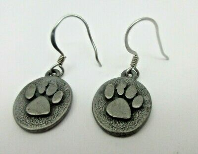 Pewter Dangle Pierced Earrings - Gennaro Cat Dog Pet Animal Paw Pewter Fish Hook Dangle Pierced EARRINGS Signed