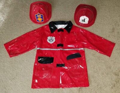 Kids' Red Firefighter Fireman Halloween Costume Jacket Hat Boys' One Size](Red Fireman Costume)