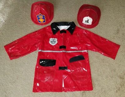 Kids' Red Firefighter Fireman Halloween Costume Jacket Hat Boys' One Size