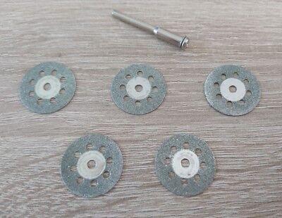 5 Stück Diamant Trennscheibe 22mm für z.B. Dremel inkl. 1 Aufspanndorn
