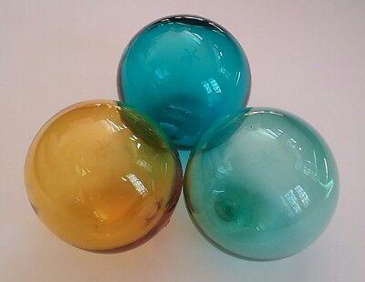 SET OF 3 VTG HAND BLOWN GLASS FLOAT BALLS BLUE GREEN AMBER