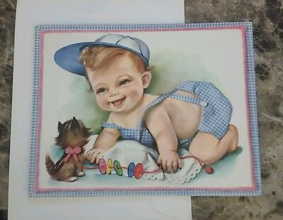 Large Vintage BIRTHDAY Greeting Card  - Kitten and Boy Playing with buttons