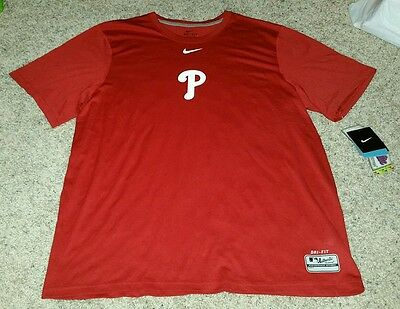(NWT NIKE DRI-FIT MEN'S XL MLB PHILADELPHIA PHILLIES RED SHORT SLEEVE SHIRT)