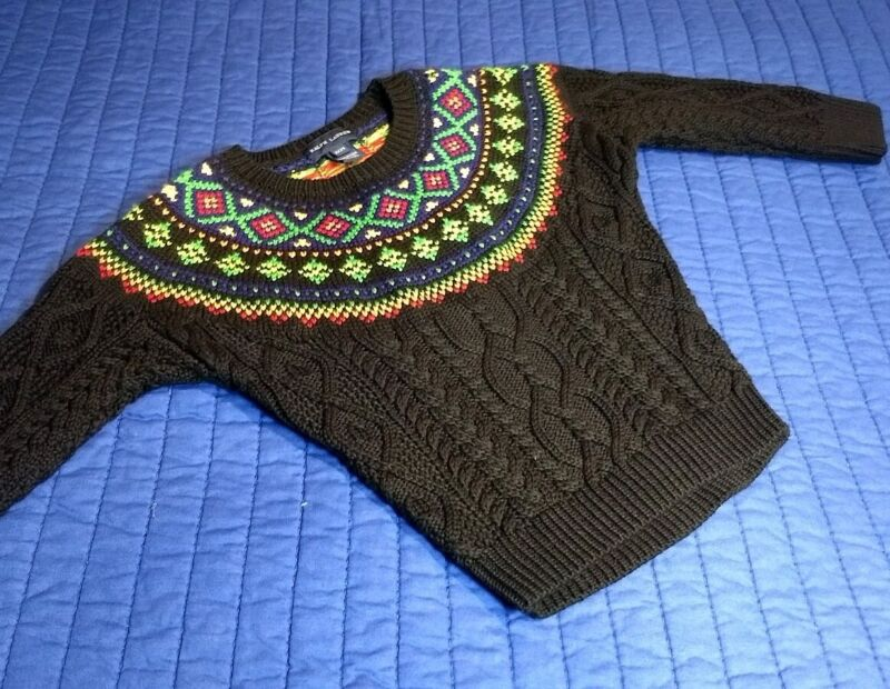 Ralph Lauren Fair Isle Cable Knit Sweater Toddler 2T  black Rare Limited
