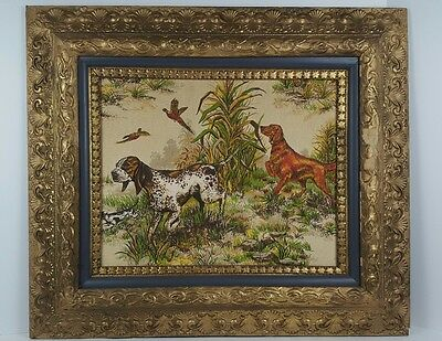 Vtg Bird Dogs Pheasants Game Hunt Trapunto 3D Fabric Portrait Gold Ornate Frame