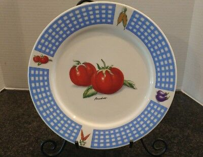 Fresh Vegetable Tomato Dinner Plate Blue Check 10 5  Display Tabletops Unlimited