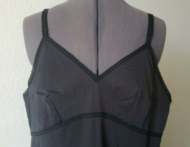 NICE Fabulous Vintage QUALITY Lorraine Full Slip Black 44 XL nylon SLEEK