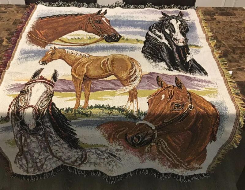 Woven Fringe Tapestry Throw Blanket Horses 45Wx57H