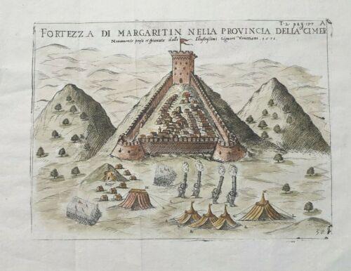 1571 FORTEZZA DI MARGARITIN MARGARITI EPIRUS GREECE ORIGINAL ENGRAVING RARE!