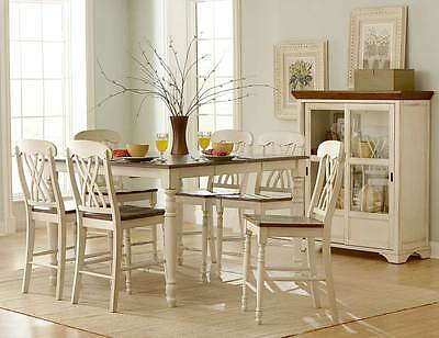 CASUAL COUNTRY COUNTER HEIGHT WHITE DINING TABLE DINING ROOM FURNITURE SET