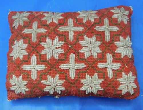 Shabby Antique Victorian Era Beaded and Needlepoint Pin Cushion