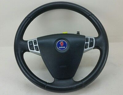 SAAB 93 9-3 LEATHER DRIVERS STEERING WHEEL WITH AIRBAG 12796742 12789426
