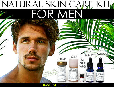 Natural Skin Care Kit For Men, Oily Skin, Large Pores, and Acne Basic Set of