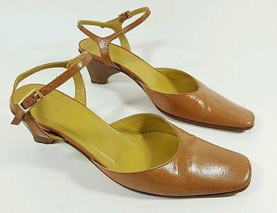 Romanelli Italian made tan leather mid heel slingbacks UK 3 Eu 36 Mid-heel-slingbacks