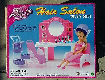 Fancy Life DOLLHOUSE FURNITURE Size Beauty Hair Salon PLAYSET For Barbie