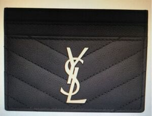 Ysl monogram card case in grain de Poudre leather