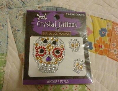Dia De Los Muertos Tattoos (Crystal Tattoos Dia De Los Muertos (Temporary) 3 In Package Fright Night)