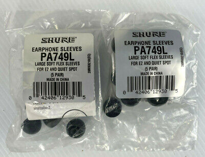 NEW SHURE PA749L SOFT FLEX LARGE EARPHONE SLEEVES - 2 PACKS OF 5 PAIRS!