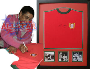 FRAMED EUSEBIO SIGNED PORTUGAL SHIRT SEE PROOF BENFICA