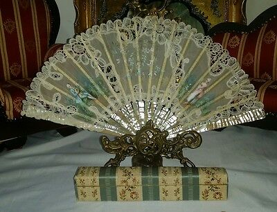 ANTIQUE VICTORIAN FRENCH signed  CARVED MOTHER OF PEARL PAINTED Lace FAN  case!
