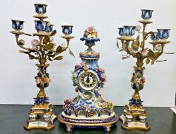 Antique Sevre Porcelain and Bronze French Table Clock W/ Pair Candelabra's