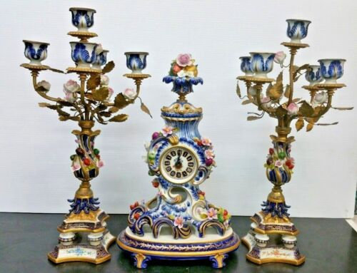 Antique Sevres Porcelain and Bronze French Table Clock Candelabra Pair