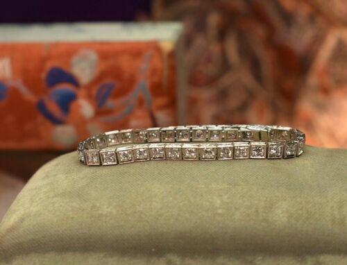 Antique Art Deco platinum 3.1 tcw European cut diamond ladies tennis bracelet