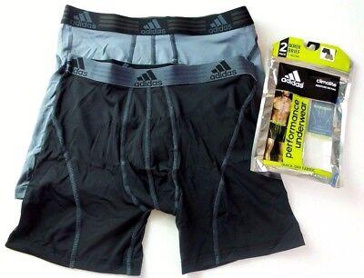 Adidas Men's Boxer Briefs 2 Pack M L Black Grey Climalite Stretch Athletic (Athletic Boxer Briefs)