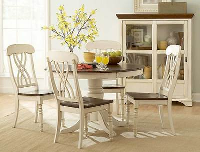 CASUAL COUNTRY WHITE DINING TABLE & CHAIRS DINING ROOM FURNITURE SET Country Dining Room