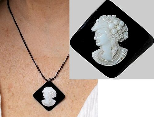 Victorian Black White Glass Cameo Antique Goddess of Harvest Pin Adapter Necklac