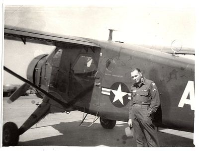 orig photo US AAF prop Airplane; soldier w Eighth 8th Army sleeve insignia WWII