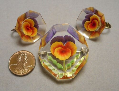 Vintage Art Deco Reverse Carved & Painted Lucite Pansy Brooch Pin & Earrings Set