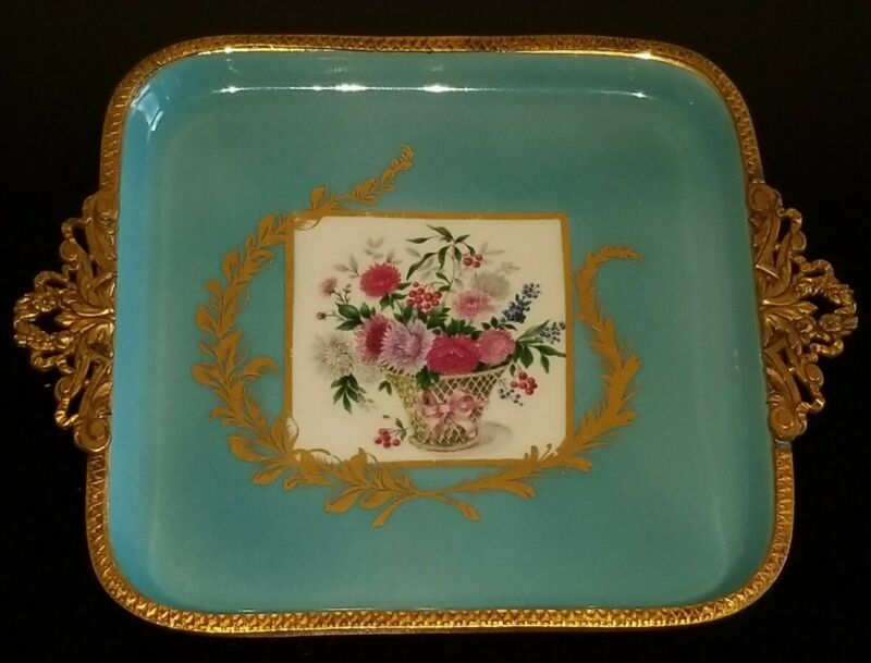 ANTIQUE VTG FRENCH LIMOGES ORMOLU BRONZE TURQUOISE ENAMELED FLORAL TRAY/DISH 6.5