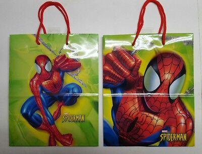 SPIDERMAN Hallmark Gift Bags 21 AVAILABLE +6 Nylon Red Handles 9.5