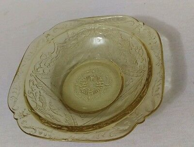 Vintage depression glass Yellow Federal Madrid Small Berry Bowl