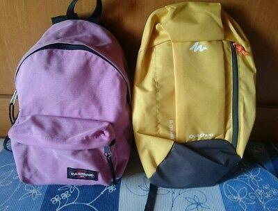 Lotto zaino EASTPAK rosa e QUECHUA giallo small backpack accessori sport scuola  usato  Barriera