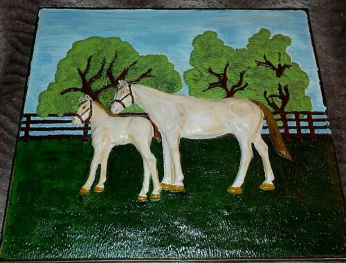 """Vintage handpainted 3-D horses, Coventry Ware, 16 1/2"""" x 18 1/4"""" great folk art"""