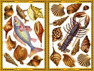 Mamelok Golden Victorian Scraps - Die Cuts - A129 / A130, Seashells and Fishes.