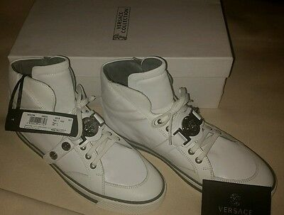 Versace Collection Medusa Head Luxury Italian Athletic High-Top Shoes Off-White