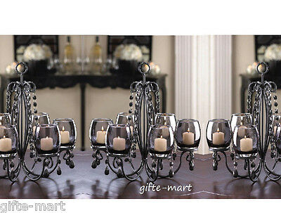 5 BLACK crystal chandelier CANDELABRA Candle holder wedding table centerpieces](Table Chandelier Centerpieces)