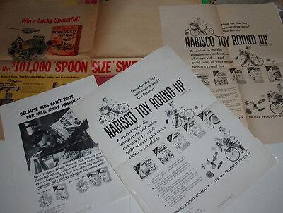 1950's Nabisco Cereal Box Ads & Proofs Spoonmen Tobor Premium etc