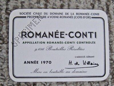 Vintage Wine Label 1970 Romanee-Conti Specimen