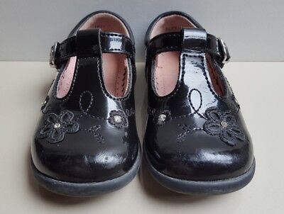 """START-RITE """"Sunflower"""" Girls Black Patent leather Buckle First Shoes Uk Tod 3.5F"""