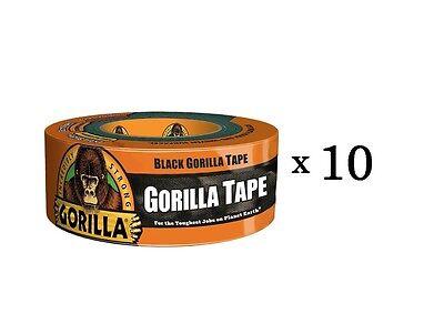 Gorilla Duct Tape 1.88in X 105ft Black Heavy Duty Tape Pro Contractor 10-rolls