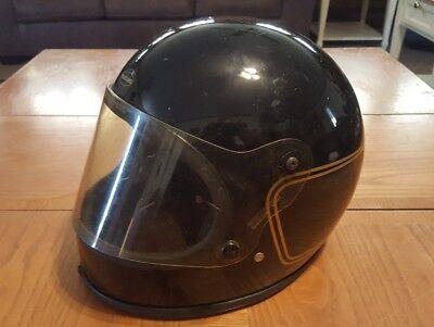 Vintage Suzuki Motorcycle Helmet Full Face Mark HCX Black Gold Piping 1980