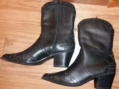 NEW! ANA Imelda Black Leather Studded Cowboy Western Fashion Boots Size 7M